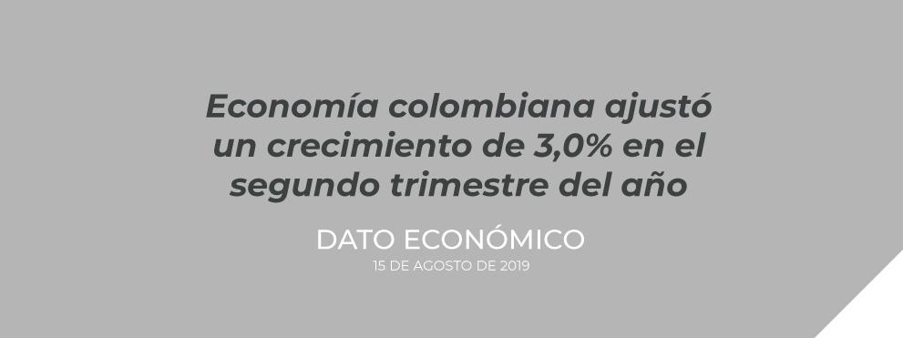 Economía colombiana ajustó un crecimiento de 3,0% en el segundo trimestre del año