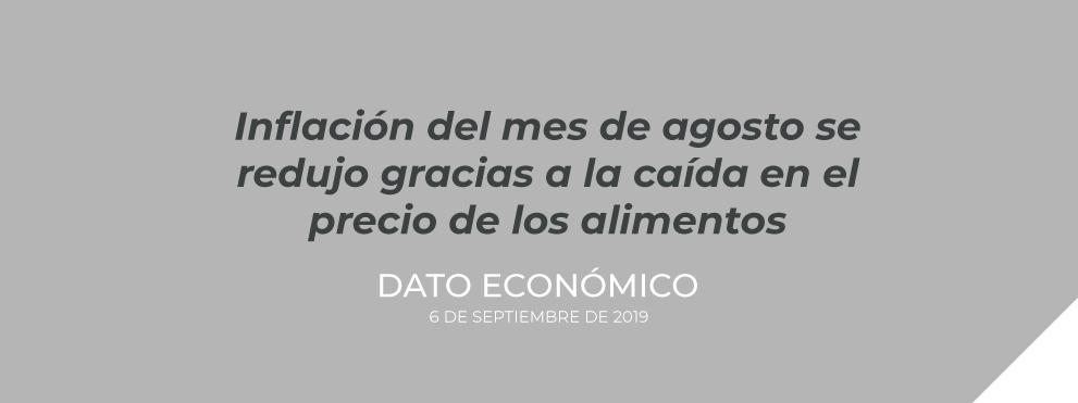 Inflación del mes de agosto se redujo